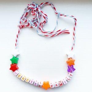 Vintage colorful string & letter bead necklace